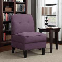 Armless Chair Purple Linen Living Room Bedroom Dining Seating Lounge  #PORTFOLIO