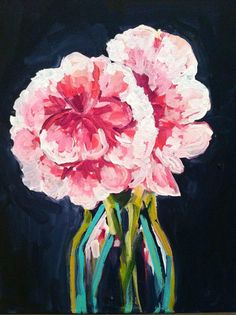 The Two Peony Bouquet, 11 x 14 Acrylic on Canvas, Evelyn Henson