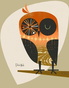 Mid Century Owl 3 Modern Illustration Matted by EdwinWade on Etsy
