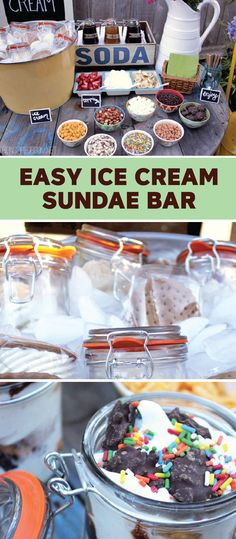 This Easy Ice Cream Sundae Bar is a kid's dream come true! Have them help you pick a selection of toppings—like fresh fruit, rainbow sprinkles, and nuts—for all their birthday party guests to add to their Dreyer's Slow Churned Vanilla light ice cream. Ice Cream Toppings, Ice Cream Recipes, Ice Cream Sunday Bar, Sundae Party, Rainbow Ice Cream, Party Food Platters, Party Desserts, Dessert Party, Ice Cream Candy