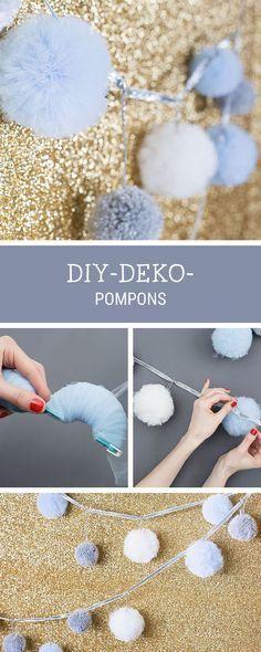 Partydekoration selbermachen: Anleitung für eine Pompon-Girlande / diy pompom garland, craft party decoration via DaWanda.com