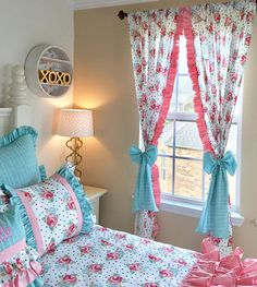 Bedding - Check out our beautiful bedding with pillows galore to spice up your room decor! This bedding set is a girl's bedding that has so many pretty colors and the sweetest prints! Aqua Bedding, King Bedding Sets, Luxury Bedding Sets, Comforter Sets, Childrens Curtains, Childrens Beds, Bed Cover Design, Indian Room, Beige Bed Linen
