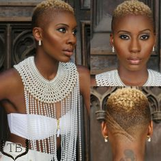 Makeup by Stacy Christine; Blonde Twa, Curly Hair Styles, Natural Hair Styles, Tapered Natural Hair, Short Styles, Twa Styles, Shaved Sides, My Hairstyle, Fade Haircut