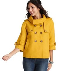Cotton Stand Collar Swing Mini Pea Coat