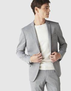 Veste de costume coupe slim en tissu armuré - DUSTART_GRISCLAIR - Vue de face - Celio France