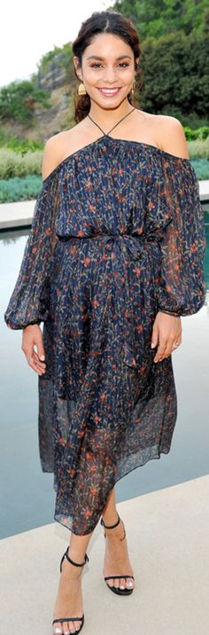 Who made  Vanessa Hudgens' black sandals and off the shoulder floral dress?