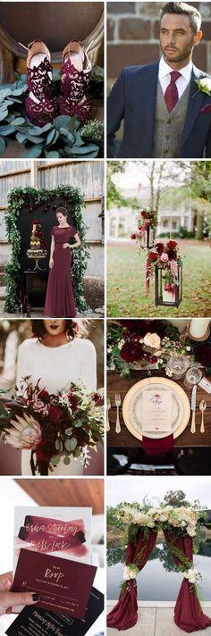 Decoração de casamento marsala, Vestido, buque, convites, sapato, flores marsala, Manual dos padrinhos para download no site, baixe arquivo grátis editável.