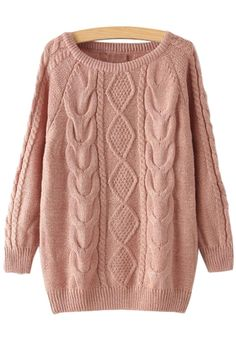 Jewel Neck Argyle Plait Long Sleeve Sweater PINK: Sweaters   ZAFUL