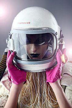 stylish future - space helmet & pink gloves!