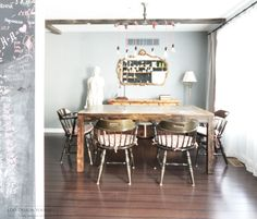 rustic industrial dining room with industrial chandelier. Industrial Chandelier, Industrial Light Fixtures, Industrial Dining, Industrial Lighting, Industrial Style, Kitchen Island Lighting, Dining Room Design, Furniture, Home Decor