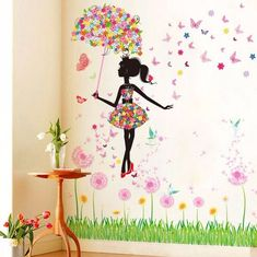 Fashion Modern Girl Butterfly Wall Sticker – Home decor