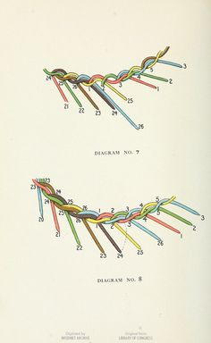 Diagrams for weaving reeds to make lily-shaped flower baskets. The basketry book; twelve lessons in reed weaving, by Mary Miles Blanchard. #basketmaking #diy #handicrafts This book is in the public domain.