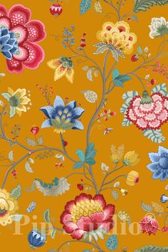PiP Floral Fantasy   Yellow Wallpaper   PiP Studio ©
