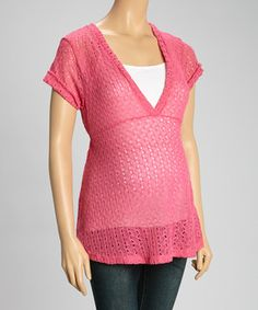 Look at this #zulilyfind! Pink Maternity V-Neck Top by Fiory Naz #zulilyfinds
