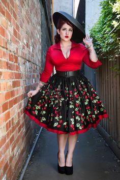 Jenny Gathered Full Skirt in Cherry Border Print - Plus Size