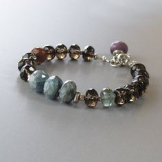 Moss Aquamarine Smoky Quartz Sugalite Gemstone Sterling Silver Bead Bracelet