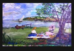 ORIGINAL ART = Oil Painting = C PETERSON = Picnic = sailboat sea = IMPRESSIONIST #moderncontemporaryartinterpretiveimpressionist