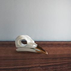 Crow Skull Gold by Beetle & Flor - great honor for one of the smartest animals on the planet - none were harmed - porcelain and gold
