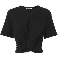 T by Alexander Wang Women's Twist Detail Black Tee ($150) ❤ liked on Polyvore featuring tops, t-shirts, shirts, black, short sleeve tops, twisted crop top, crop top, smock top and smocked top
