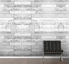 M8961-RM01. Tiled Stone is a white washed faux wood digital wallpaper ...