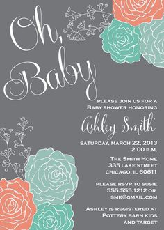 Baby Shower Invitation, Coral & Mint Green Flowers, Gray Chalkboard