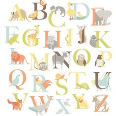 A beautiful alphabet wall decal set, perfect for classsroom decor! Alphabet Zoo Kit Wall Decals - WallPops for Baby Peel and Stick Wall Art