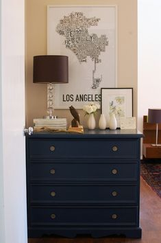 Blue Dresser - Chalk paint creates a nice matte finish