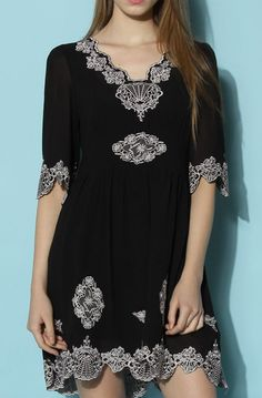 Lovely Clusters Shop: Infinity Floral Embroidered Crepe Dress