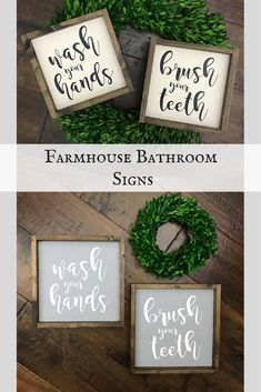 Wood framed rustic bathroom signs. Wash your Hands, Brush your Teeth. There are three sizes to choose from to meet your decorating needs. #farmhouse #bathroom #ad #etsy