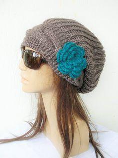 Hand Knit Hat Womens hat Winter Hat Slouchy Beanie Hat by Ebruk