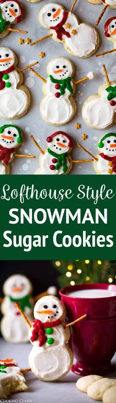 Lofthouse Style Snowman Sugar Cookies - One of the best Christmas cookies I've had! Fun to make, so delicious and just too cute. They would be the perfect gift to give this year. via @cookingclassy
