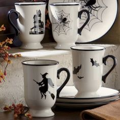Set of 4 Halloween Mugs & dessert plates from Through the Country Door® (I love this web site! - they have amazing Christmas decor too!)