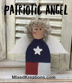 I cut this Patriotic Angel out of an old weathered fence picket, and the wings out of thin plywood. At the time that I had cut her out, I had cut out.