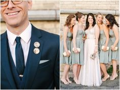 Steve + Amanda – Turner Hall Wedding | Jenna Leigh Sequin wedding dress and custom bridesmaid dresses by MinkMaids www.minkmaids.com Custom lapel pins - BouquetPhotoCharms - etsy
