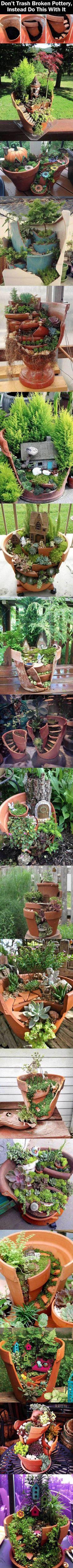 How to turn broken pots in garden art.