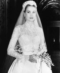 Grace Kelly used a small, cascading bouquet of lilies-of-the-valley for her wedding, in 1956. Her bouquet seems to go perfectly with her classic lace sleeves and vintage style