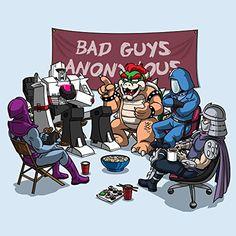 'Bad Guys Anonymous' Hero & Video Game Villains Parody - Vinyl Sticker