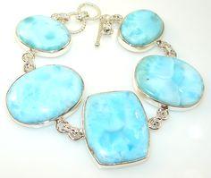 $268.50 Elegant Dominican Larimar Sterling Silver bracelet at www.SilverRushStyle.com #bracelet #handmade #jewelry #silver #larimar