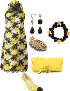 """Black & Yellow Lace"" by anesbitt09 ❤ liked on Polyvore"