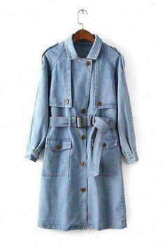 Denim Trench Coat with Self-tie Belt in Light Blue - US$57.95 -YOINS #RainJacketWomenssale #BestWomensgoreTexRaincoat