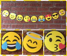 Emoji garland - Emojis party - Emojis Birthday party - emojis emotions - Emoji Happy - Emoji expressions- Yellow - Emoji decorations by 2inspiredcrafters on Etsy https://www.etsy.com/listing/471029860/emoji-garland-emojis-party-emojis