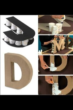 DIY letters for any party occasion. Creation Deco, Diy Letters, Cardboard Letters, Diy Art, Art N Craft, Diy Tutorial, Diy Gifts, Diy And Crafts, Bead Crafts