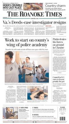 The Roanoke Times front page: March 5, 2014. Sign up for a digital subscription at roanoke.com/subscribe.