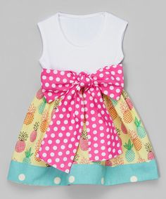 Look at this #zulilyfind! White & Pink Polka Dot Pineapple Sash Dress - Infant & Toddler #zulilyfinds