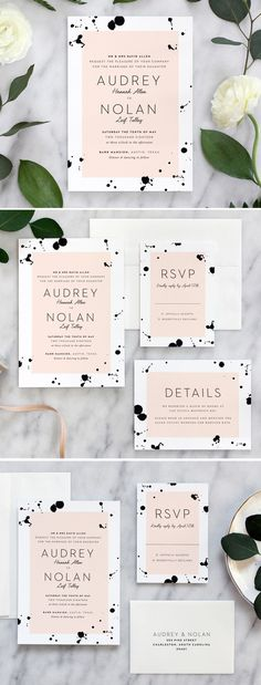 Artistic and modern wedding  invitation suite by Fine Day Press combines watercolor ink drops with blush tones for a chic, elegant feel. Invitations are printed on thick cotton stock.