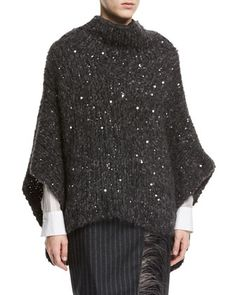 Shop Alpaca-Cotton Paillette Poncho from Brunello Cucinelli at Neiman Marcus Last Call, where you'll save as much as on designer fashions. Grey Poncho, Wool Poncho, Grey Sweater, Mode Crochet, Brunello Cucinelli, Silk Organza, Knitted Poncho, Dressed To Kill, Sweater Design