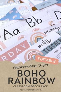 This bundle of gorgeous modern BOHO RAINBOW classroom decor can be used in endless ways around your classroom! With easy to edit labels, posters, calendars, number lines, meet the teacher templates, shape posters, word walls and so much more, setting up your classroom has never been easier with these neutral modern rainbow designs! Or better value... #bohorainbowclassroom Classroom Labels, Classroom Displays, Classroom Themes, Classroom Organization, Meet The Teacher Template, Birthday Display, Shape Posters, Number Lines, Theme Template