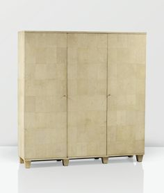 JEAN-MICHEL FRANK 1895 - 1941 ARMOIRE, VERS 1930 A SHAGREEN, OAK AND SYCAMORE WARDROBE BY JEAN-MICHEL FRANK, CIRCA 1930. STAMPED, NUMBERED AND WITH THE STAMP OF THE MAKER CHANAUX & CO