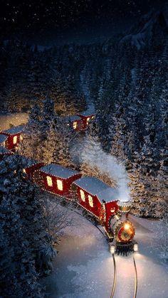 Christmas Scenery, Cosy Christmas, Christmas Feeling, Christmas Train, Winter Scenery, Christmas Lights, Vintage Christmas, Christmas Time, Christmas Stuff