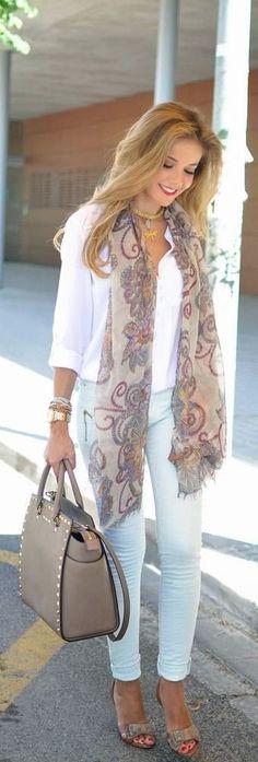 Just a Pretty Style: Spring fashion street styles scarf and handbag
